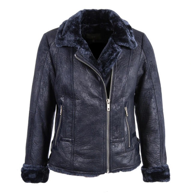 Women's Faux Sheepskin Aviator Jacket