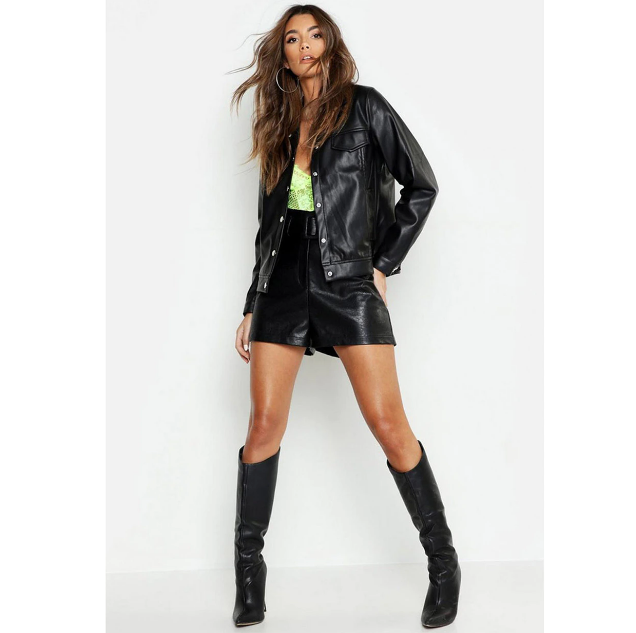 Women's Leather Black Trucker Jacket