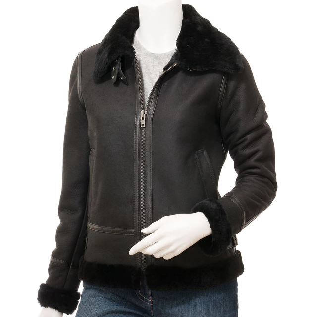 Women's Luxurious Black Bomber Jacket