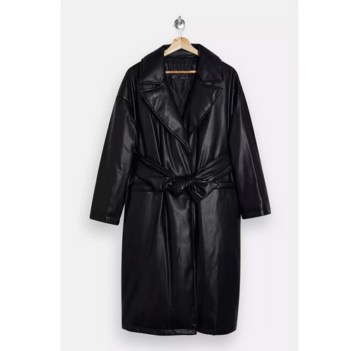Women's PU Padded Belted Coat