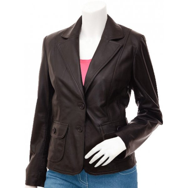 Women's 2 Button Brown Leather Blazer