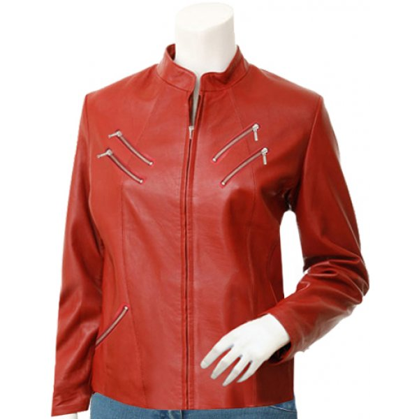 Women's Biker Style Red Leather Jacket