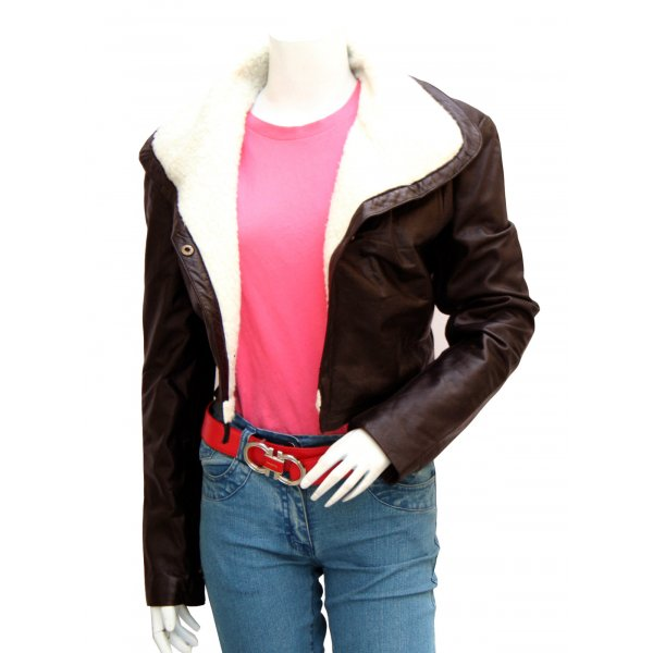 Women's Classy Fur  Brown Leather Jacket