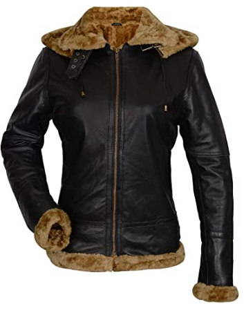 Womens B3 Jacket Bomber Aviator Pilot Sheepskin Brown Leather Jacket