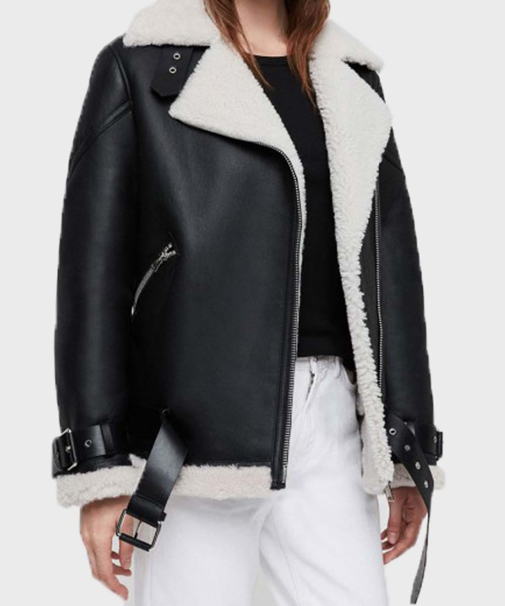Womens Black Shearling Jacket