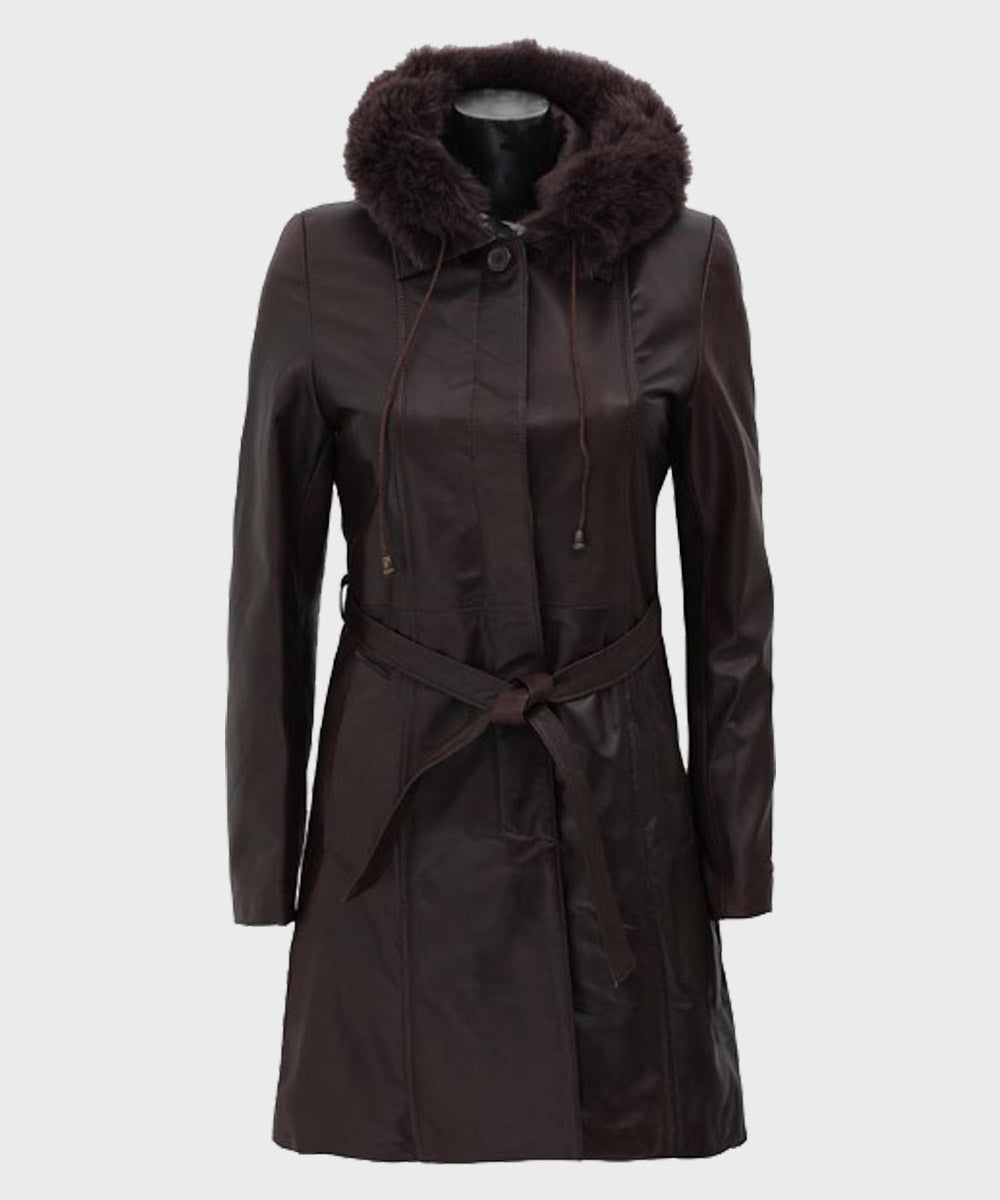 Womens Fur Dark Brown Hooded Leather Coat