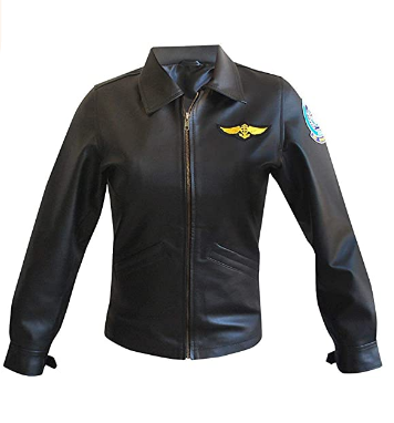 Womens Top Gun Kelly Aviator Black Biker Leather Jacket