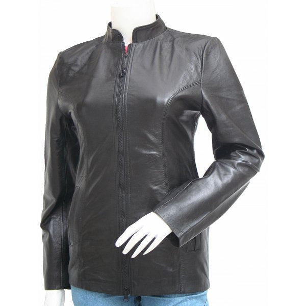 Womens Moto Fitted Black Leather Jacket