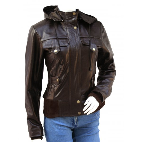 Womens Top Class Brown Leather Bomber Jacket