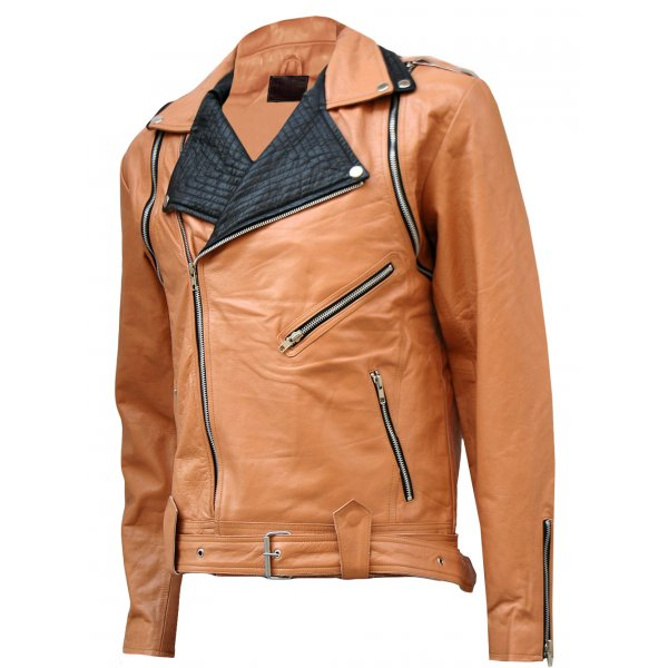 Men Tan & Black Draped Leather Jacket