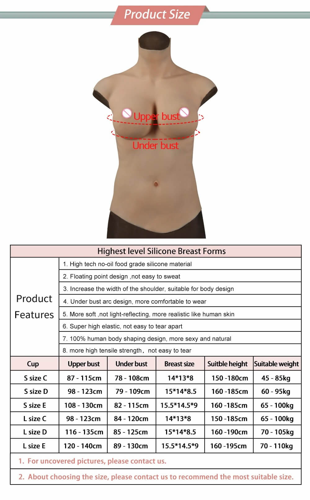highest level silicone breast forms size chart and breastplate features