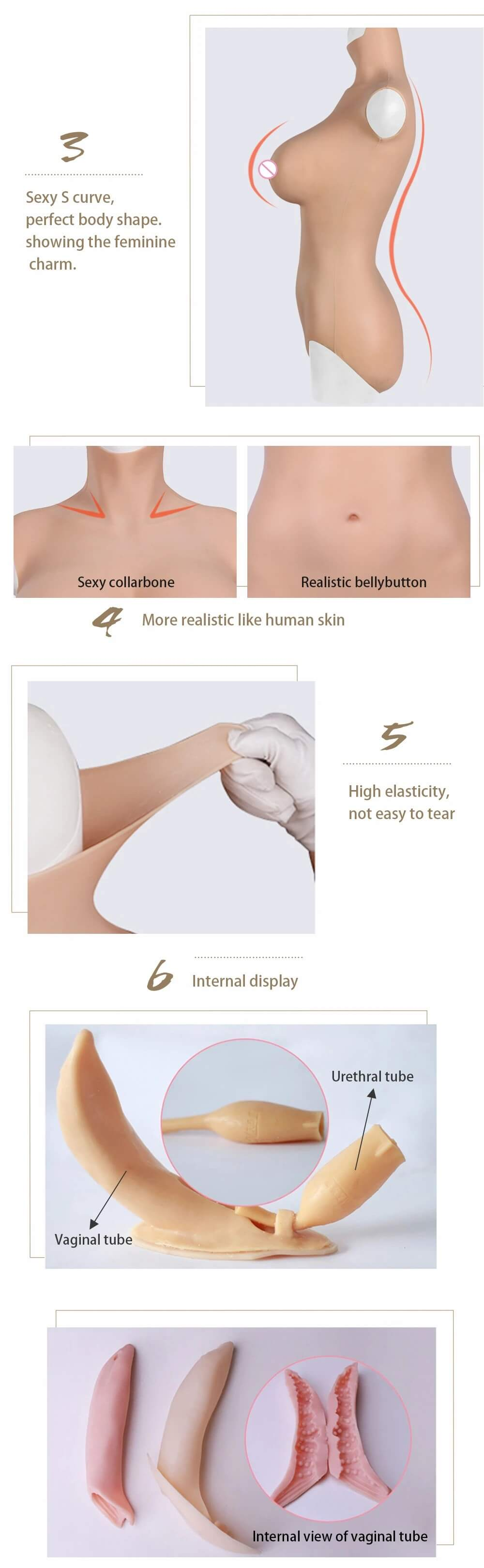 6G silicone body suit feature: more realistic like human skin