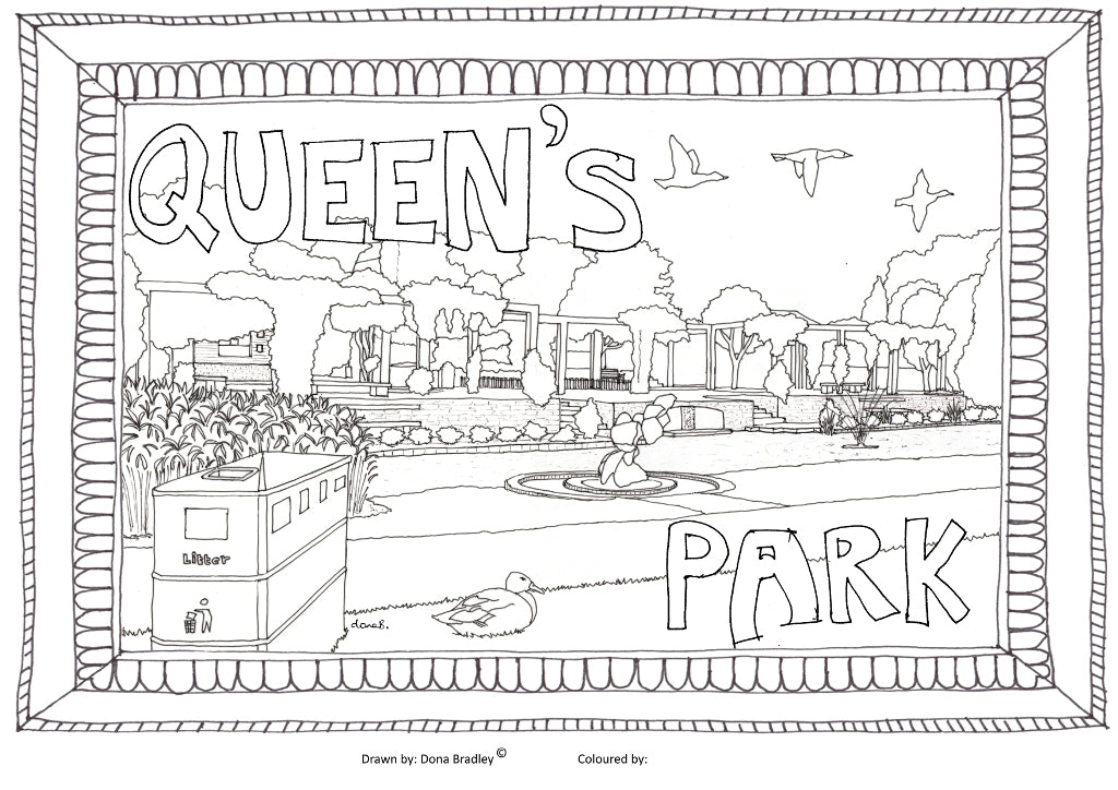 Swindon Queens Park colouring-in image