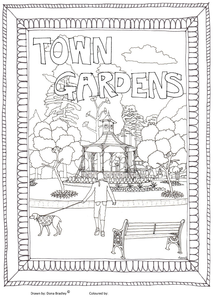Swindon Town Gardens colouring-in image