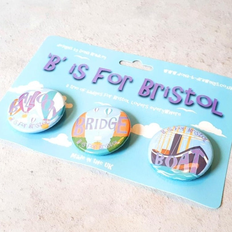 Bristol balloon, bridge & boat badges on backing card