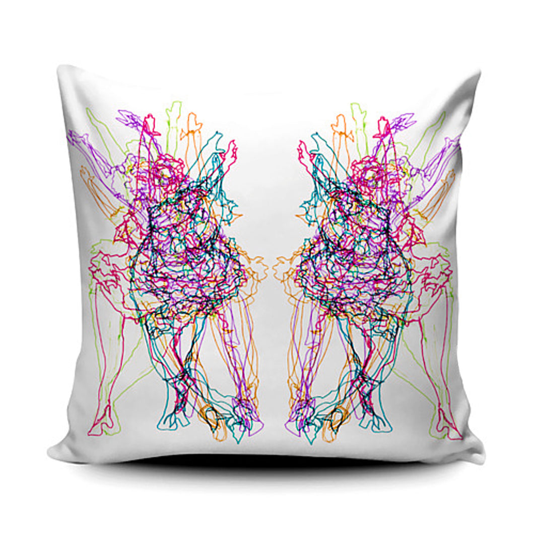 Rainbow Ballerina Faux Suede Cushion