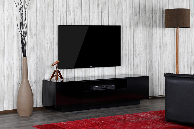 Lifestyle Image Accord Concept LB Series Black 180cm Media Unit TV Cabinet Open Front Large Cabinet