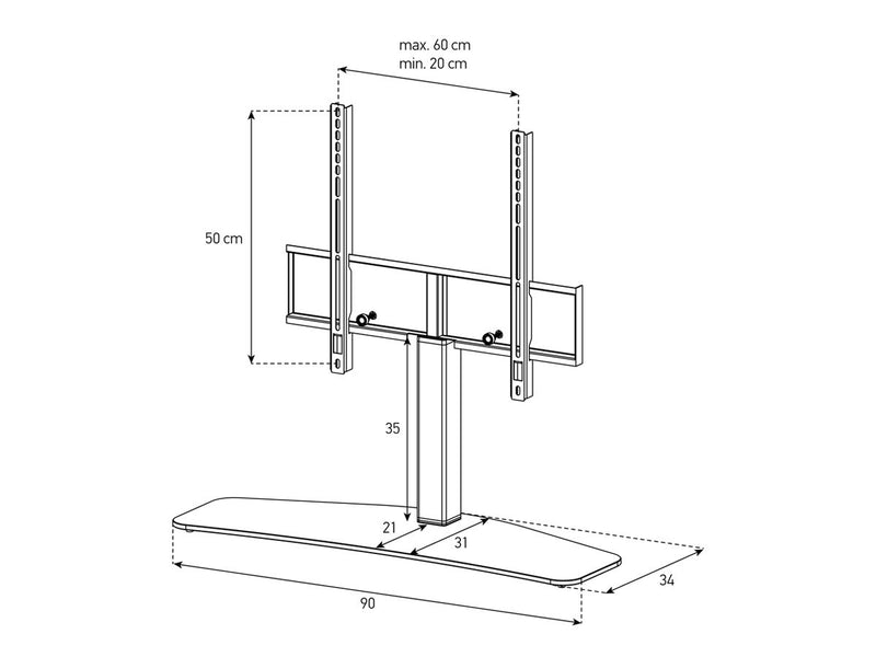Table top TV Stand Plasma Series Dimensions