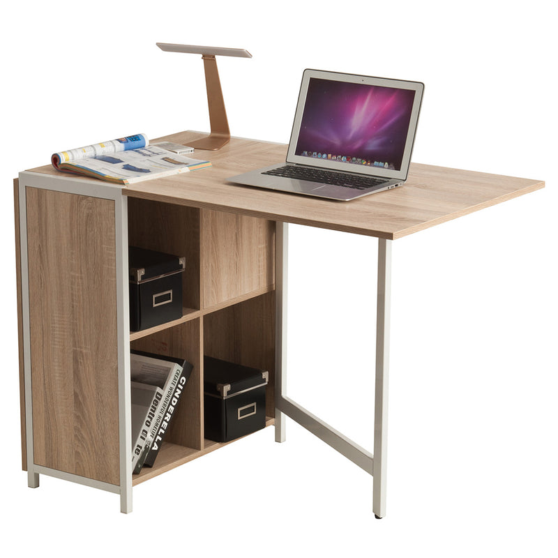 Compact Table Desk, White & Oak - CED-103 by Accord