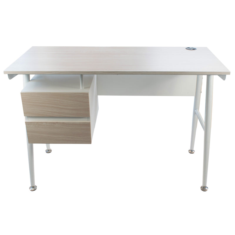 Modern Desk with 2 Drawers White & Oak, CED-202