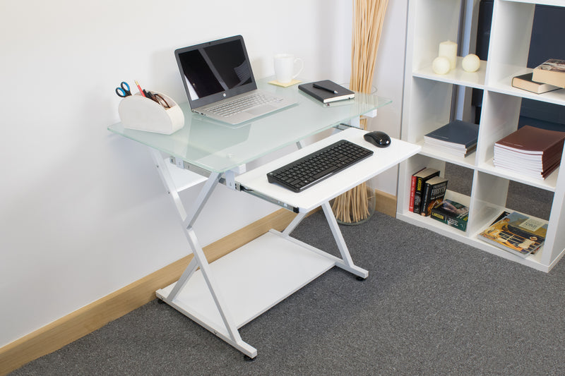 Compact Glass Desk with Keyboard Shelf, CED-204