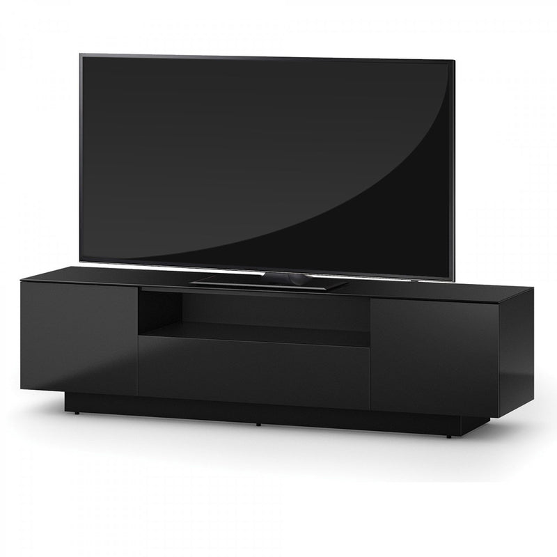 Accord Concept LB Series Black 180cm Media Unit TV Cabinet Open Front Large Cabinet