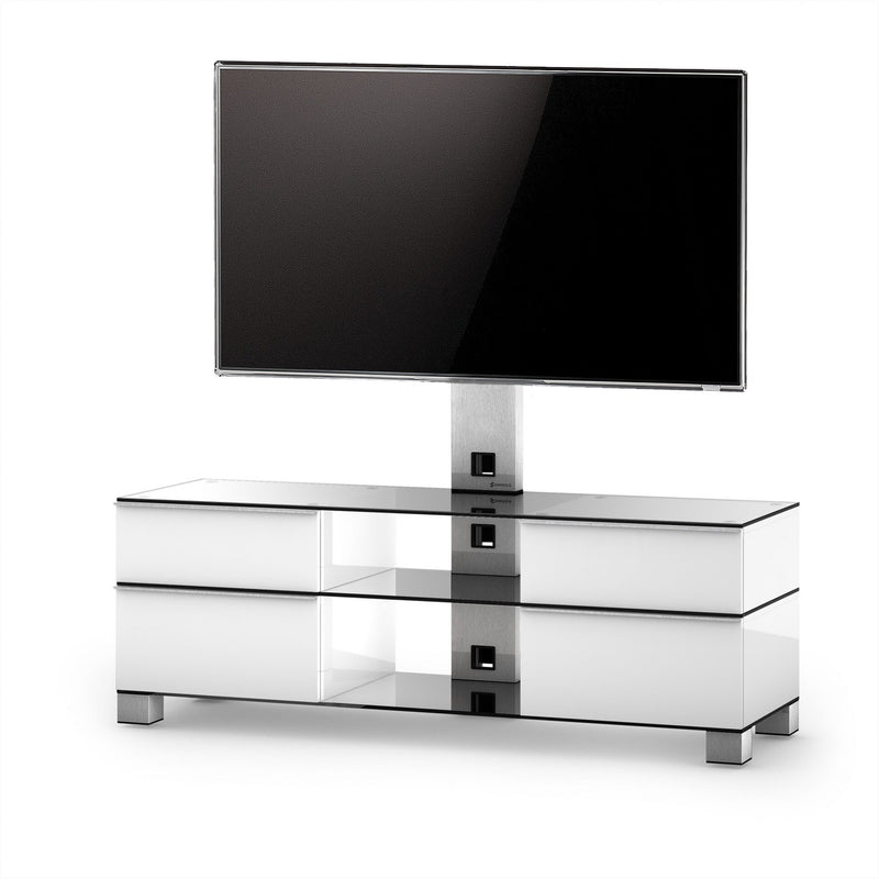 TV Cabinet with Storage and Column Bracket White