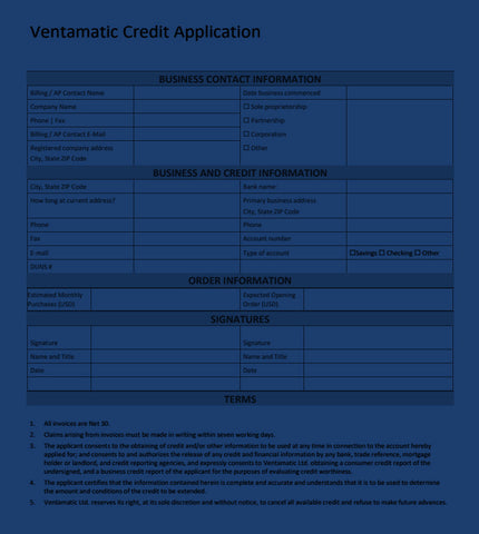 Click here to download the QuFresh - Ventamatic Credit Application