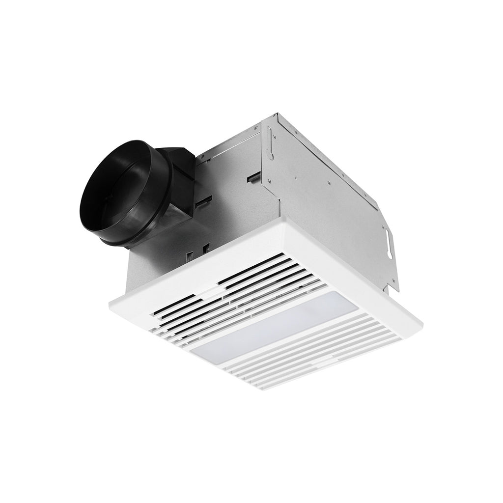 The QuFresh MC704L has a 4 inch duct collar and operates at 70 CFM with a functional 11W LED light on a modern grille for little to no maintenance.