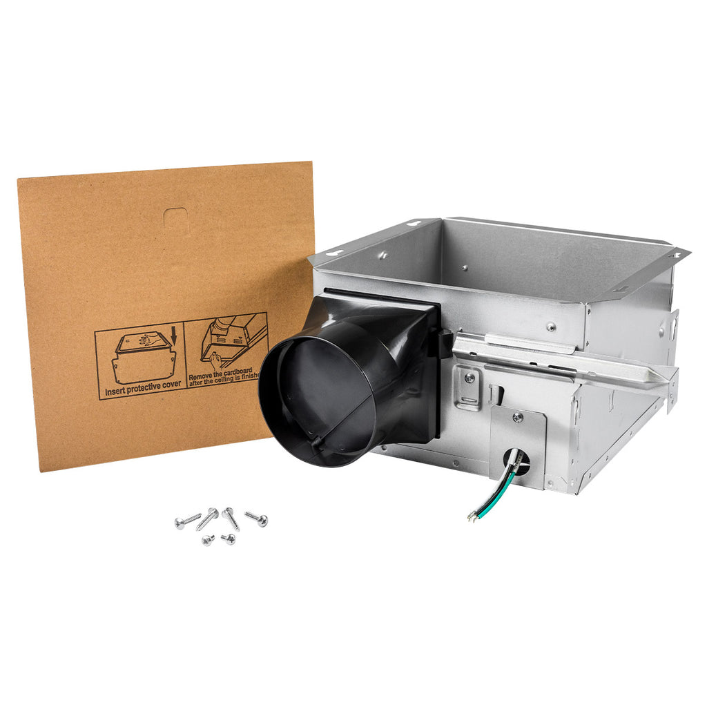 The QFBC4A contractor housing pack includes the bath fan housing, hardware, and protective cover to keep the fan protected while construction occurs.