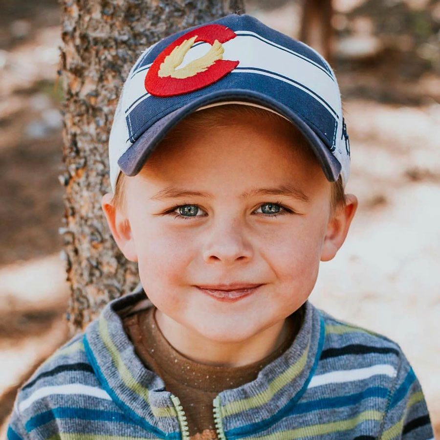 KIDS Colorado Flag Hat - Twilight Blue