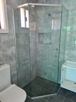 Diamond semi-framed 6 mm toughened glass