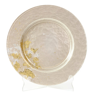 Syosaku Japanese Urushi Glass Dinner Plate 12.5-inch (32cm) Majestic White with Gold Leaf, Dishwasher Safe - Syosaku-Japan