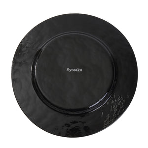 Syosaku Japanese Urushi Glass Dinner Plate 12.5-inch (32cm) Jet Black with Gold Leaf, Dishwasher Safe - Syosaku-Japan