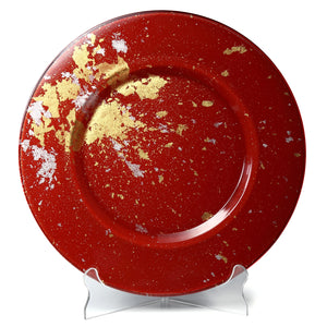 Syosaku Japanese Urushi Glass Charger Plate 13.9-inch (35cm) Vermilion with Gold Leaf, Dishwasher Safe - Syosaku-Japan