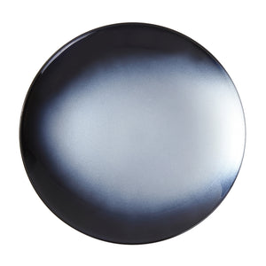 Syosaku Japanese Urushi Glass Flat Dinner Plate 11-inch (28cm) Gradation Black, Dishwasher Safe