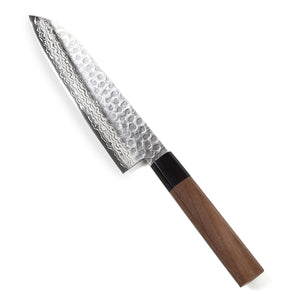 Syosaku Japanese Multi-Purpose Chef Knife Hammered Damascus VG-10 46 Layer Octagonal Walnut Handle, Santoku 7-inch (180mm) - Syosaku-Japan