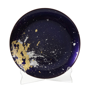 Syosaku Japanese Urushi Glass Flat Dinner Plate 11-inch (28cm) Majestic Blue with Gold Leaf, Dishwasher Safe