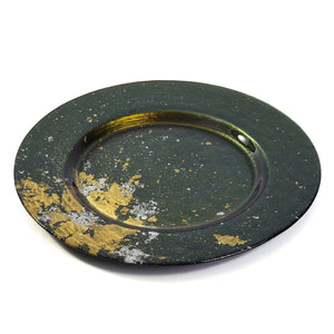 Syosaku Japanese Urushi Glass Dinner Plate 12.5-inch (32cm) Majestic Green with Gold Leaf, Dishwasher Safe