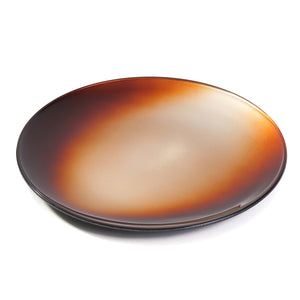 Syosaku Japanese Urushi Glass Flat Dinner Plate 11-inch (28cm) Gradation Brown, Dishwasher Safe - Syosaku-Japan