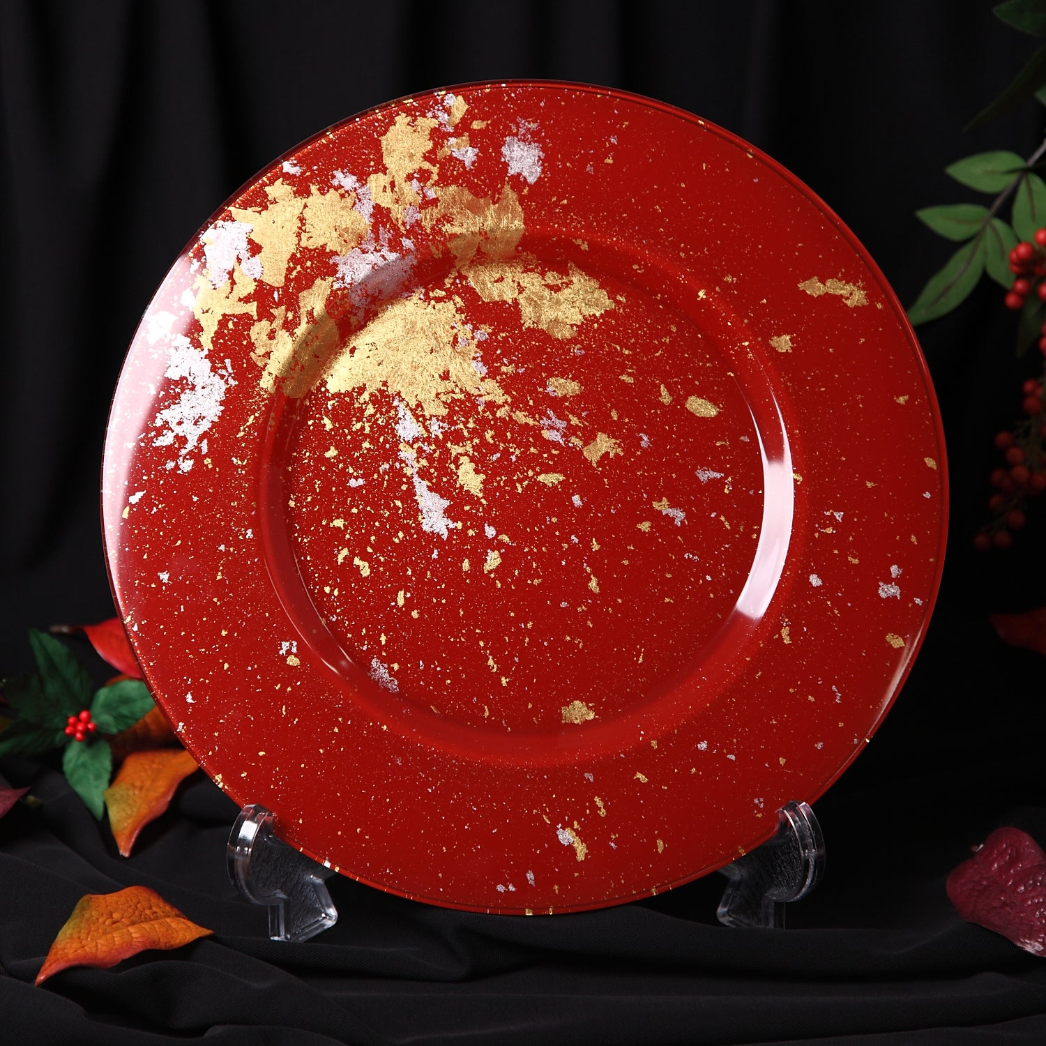 Syosaku Japanese Urushi Glass Charger Plate 13.9-inch (35cm) Vermilion with Gold Leaf, Dishwasher Safe