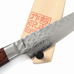 Syosaku Japanese Paring Knife Damascus VG-10 16 Layer Mahogany Handle, 3-inch (80mm) with Magnolia Wood Sheath Saya Cover - Syosaku-Japan