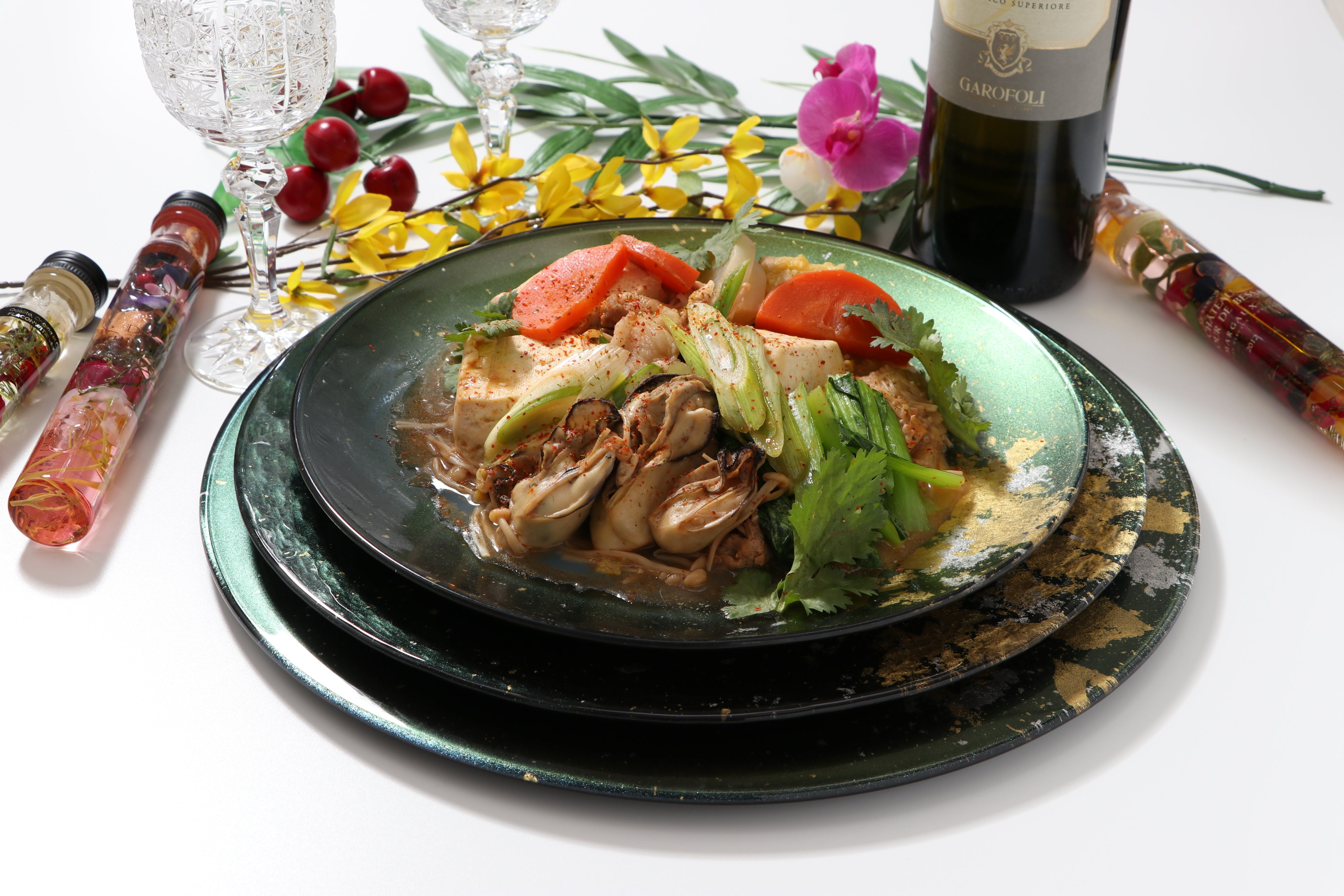 Oyster and Tofu Stew on Syosaku Urushi Glass Flat Dinner Plate Majestic Green with Gold Leaf, Dishwasher Safe.