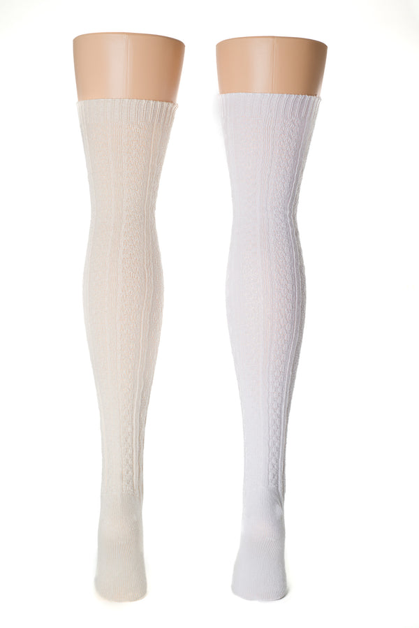 Delp Stockings Cabled Cotton, Cream and White side by side picture of back of stockings