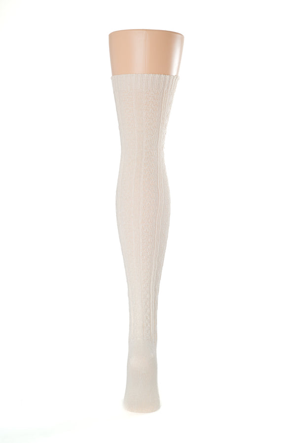 Delp Stockings Cabled Cotton, Cream color back of stocking picture