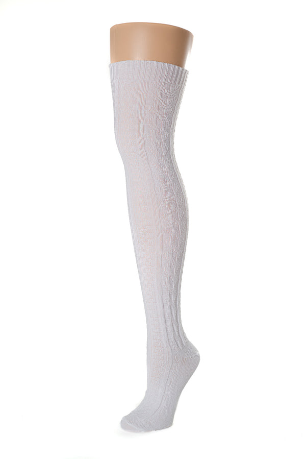 Delp Stockings Cabled Cotton, White color side picture