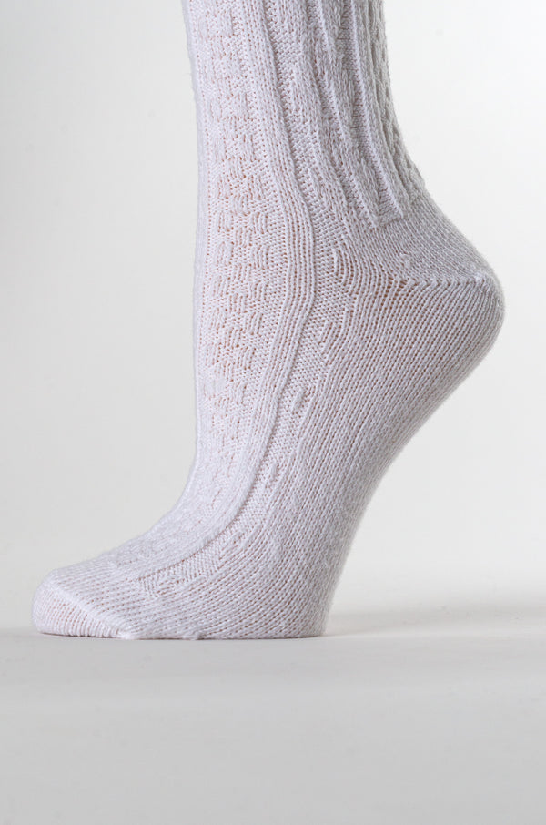 Delp Stockings Cabled Cotton, White color foot detail picture