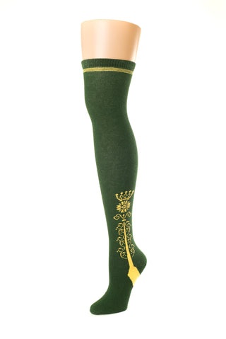 Delp Stockings Clocked Cotton, Crown Style. Green with Yellow ankle clocking design side view.