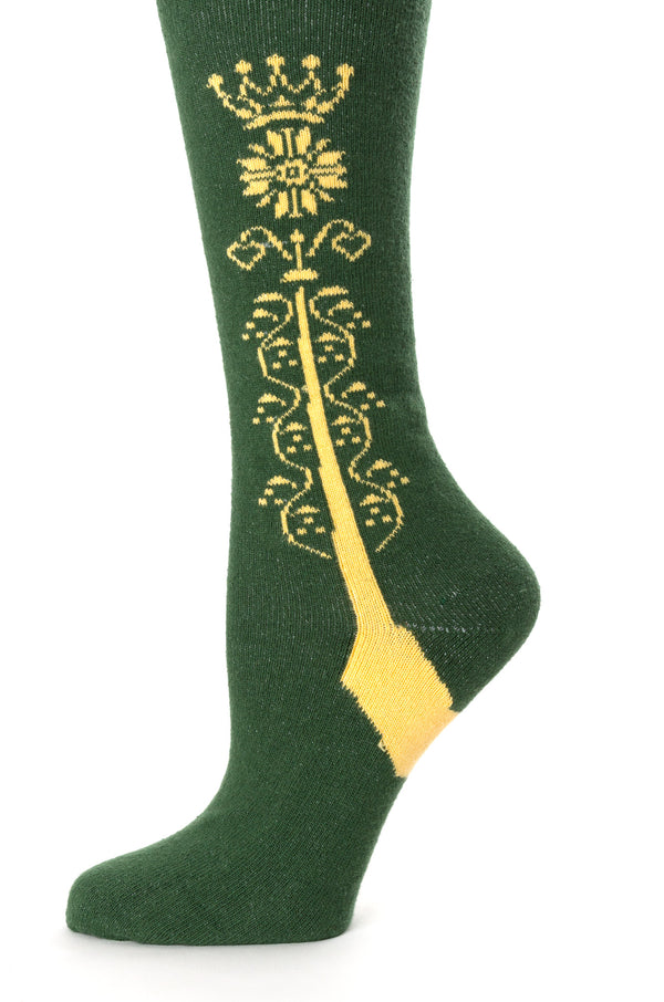 Delp Stockings Clocked Cotton, Crown Style. Green with Yellow ankle clocking design side detail view.