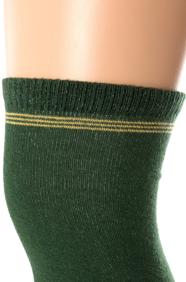 Delp Stockings Clocked Cotton, Crown Style. Green with Yellow ankle clocking design, top of stocking detail view.